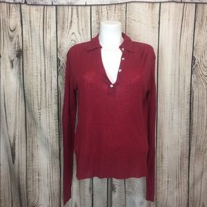 NWT Zara Maroon Vneck Lightweight Sweater Medium